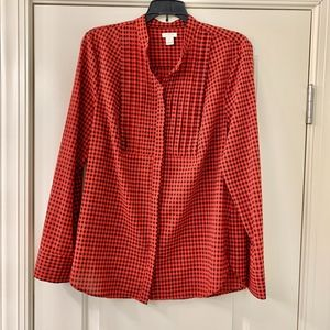 J. Crew Red & Black Buffalo Check Button Up Sz Med